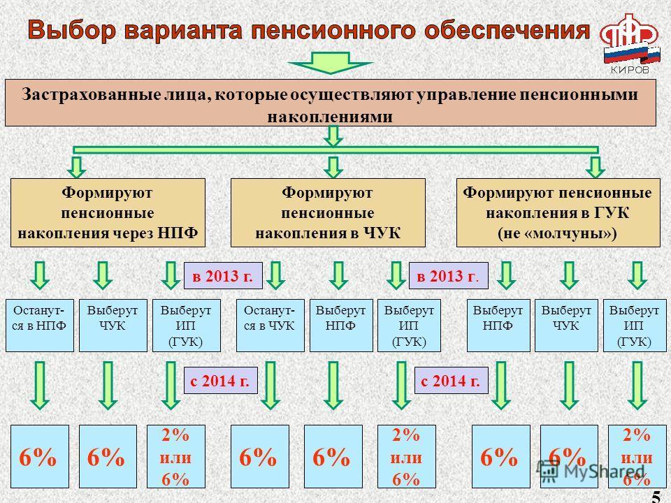 Застрахованные лица, которые осуществляют управление пенсионными накоплениями в 2013 г. Формируют пенсионные накопления через НПФ Формируют пенсионные накопления в ЧУК Формируют пенсионные накопления в ГУК (не «молчуны») Останут- ся в НПФ Останут- ся
