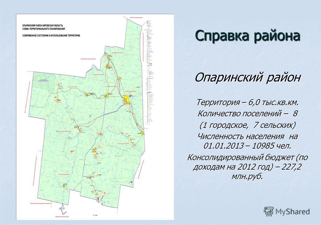 Справка района Справка района Опаринский район Территория – 6,0 тыс.кв.км. Количество поселений – 8 (1 городское, 7 сельских) Численность населения на 01.01.2013 – 10985 чел. Консолидированный бюджет (по доходам на 2012 год) – 227,2 млн.руб.