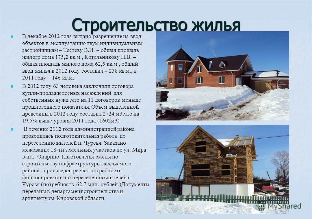 Строительство жилья В декабре 2012 года выдано разрешение на ввод объектов в эксплуатацию двум индивидуальным застройщикам – Тестеву В.И. – общая площадь жилого дома 175,2 кв.м., Котельникову П.В. – общая площадь жилого дома 62,5 кв.м., общий ввод жи