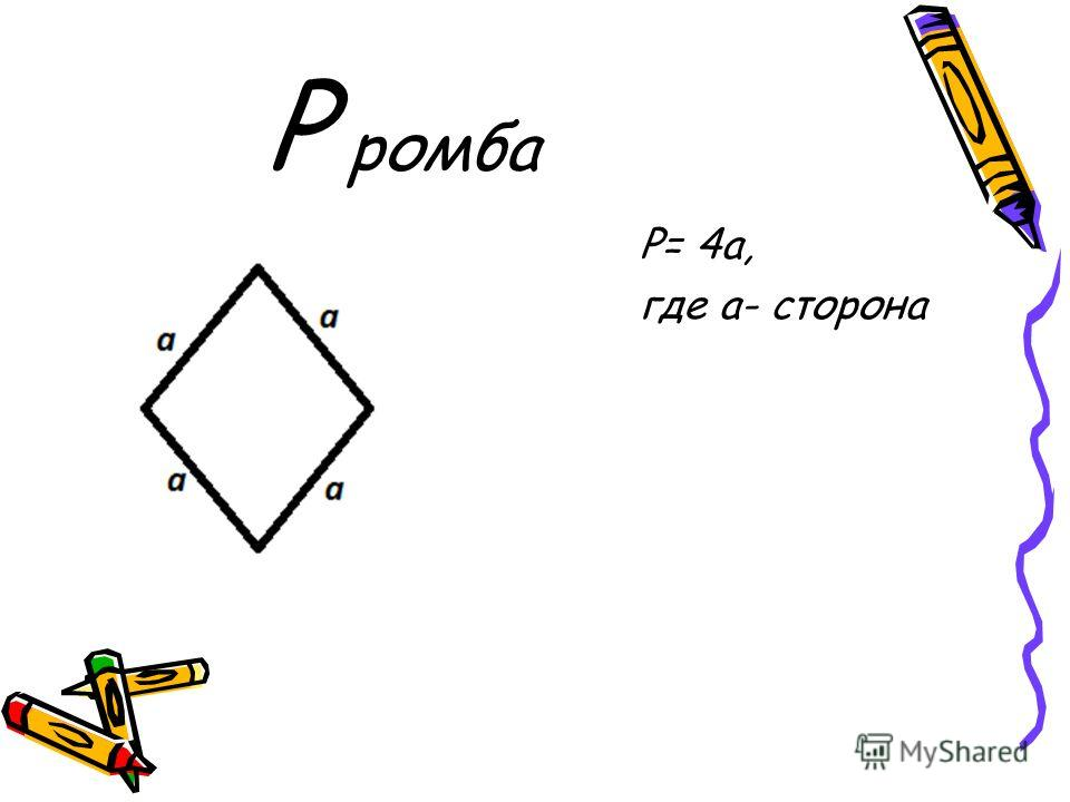 P ромба Р= 4a, где a- сторона
