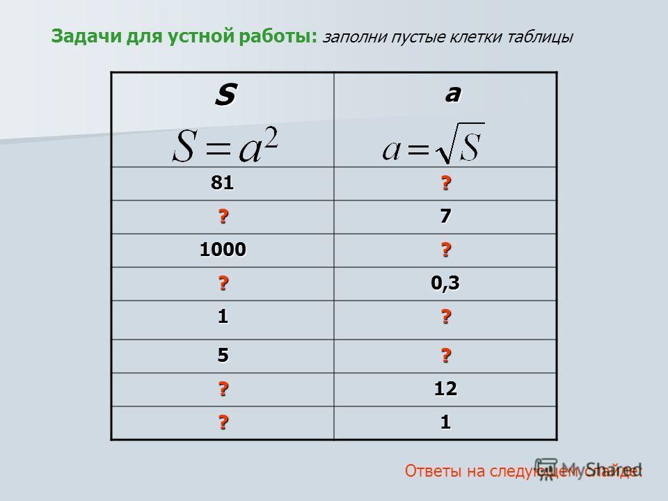Задачи для устной работы: заполни пустые клетки таблицы S81? ?7 1000? ?0,3 1? 5? ?12 ?1 a Ответы на следующем слайде: