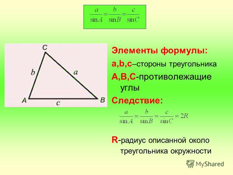 Элементы формулы: а,b,c –стороны треугольника A,B,С-противолежащие углы Следствие: R- радиус описанной около треугольника окружности