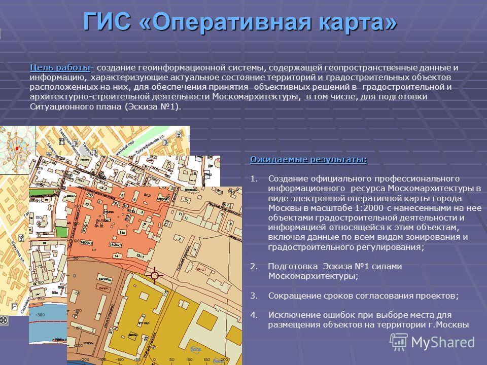 ГИС «Оперативная карта» Цель работы Цель работы- создание геоинформационной системы, содержащей геопространственные данные и информацию, характеризующие актуальное состояние территорий и градостроительных объектов расположенных на них, для обеспечени