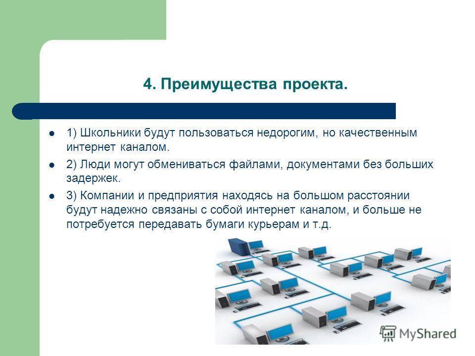 4. Преимущества проекта. 1) Школьники будут пользоваться недорогим, но качественным интернет каналом. 2) Люди могут обмениваться файлами, документами без больших задержек. 3) Компании и предприятия находясь на большом расстоянии будут надежно связаны