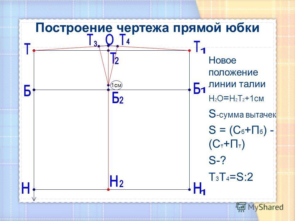 Новое положение линии талии Н 2 О = Н 2 Т 2 +1см S -сумма вытачек S = (С б +П б ) - (С т +П т ) S-? Т 3 Т 4 =S:2 1см
