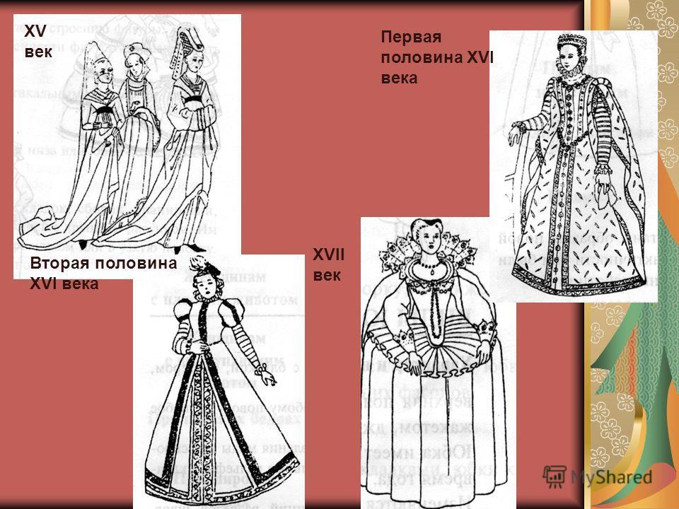 XV век Вторая половина XVI века XVII век Первая половина XVI века