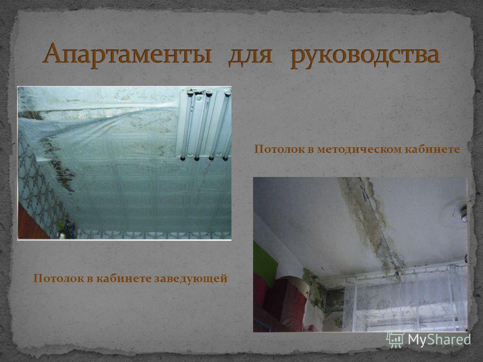 Потолок в кабинете заведующей Потолок в методическом кабинете