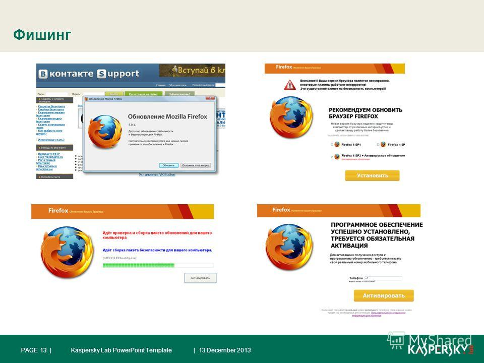 Фишинг | 13 December 2013PAGE 13 |Kaspersky Lab PowerPoint Template