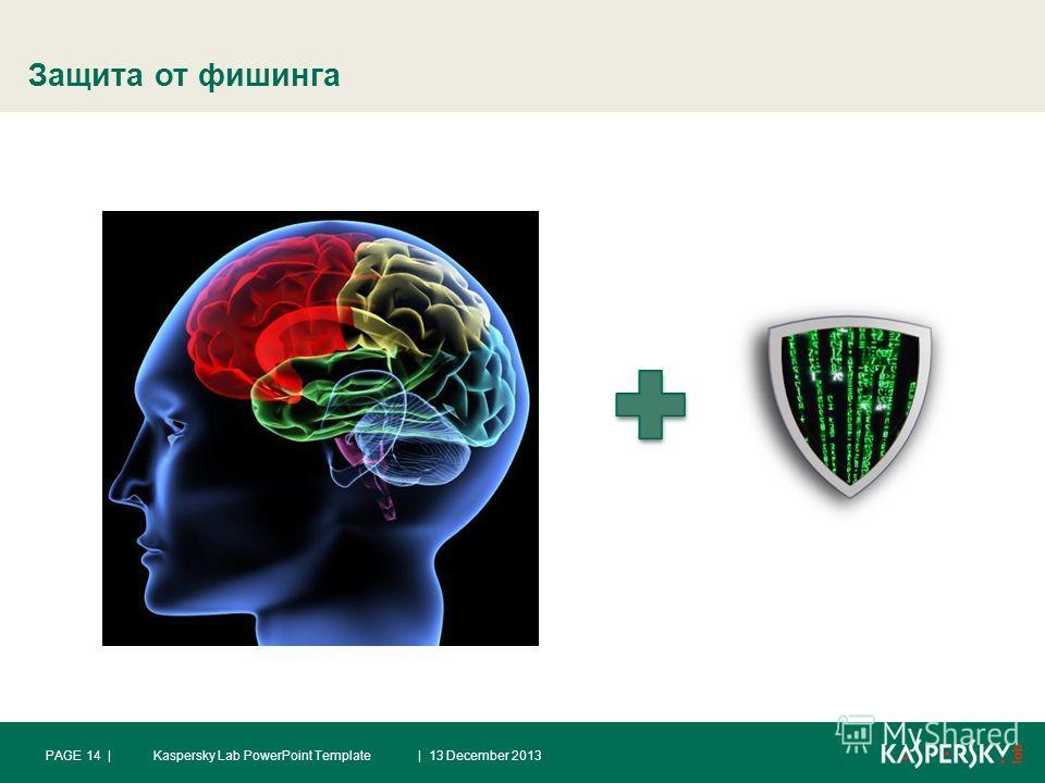 Защита от фишинга | 13 December 2013PAGE 14 |Kaspersky Lab PowerPoint Template