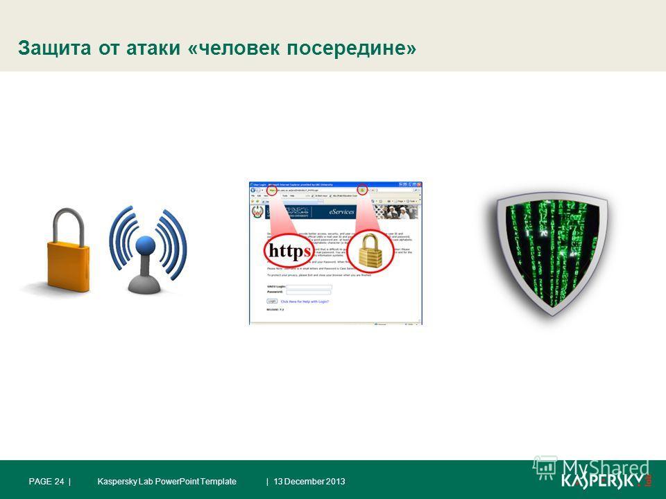 Защита от атаки «человек посередине» | 13 December 2013PAGE 24 |Kaspersky Lab PowerPoint Template