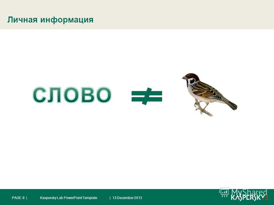 Личная информация | 13 December 2013PAGE 8 |Kaspersky Lab PowerPoint Template