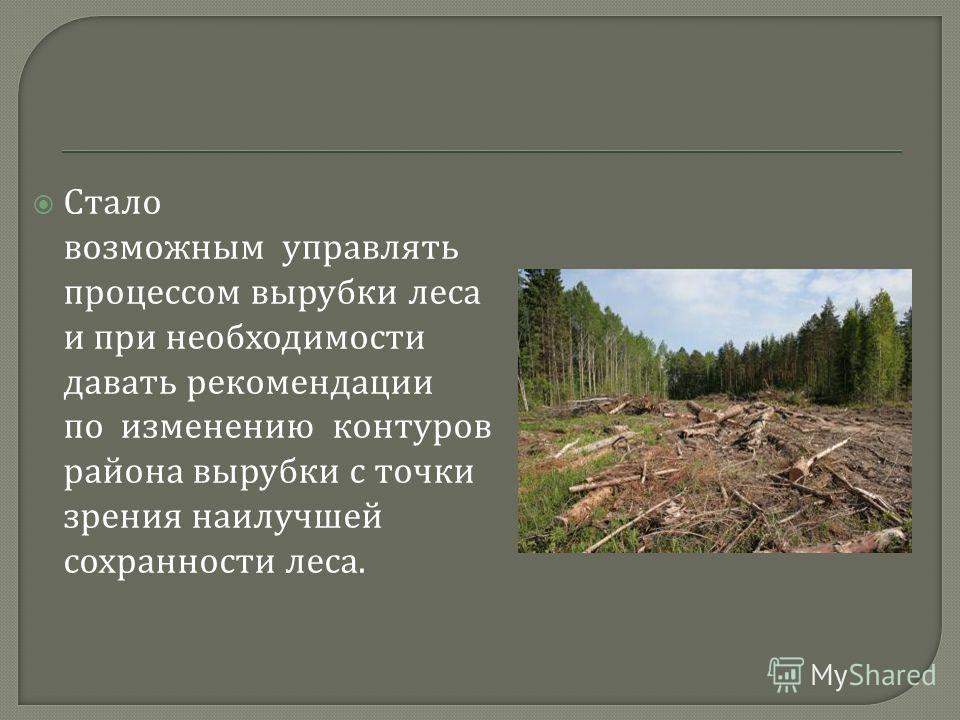 Стало возможным управлять процессом вырубки леса и при необходимости давать рекомендации по изменению контуров района вырубки с точки зрения наилучшей сохранности леса.