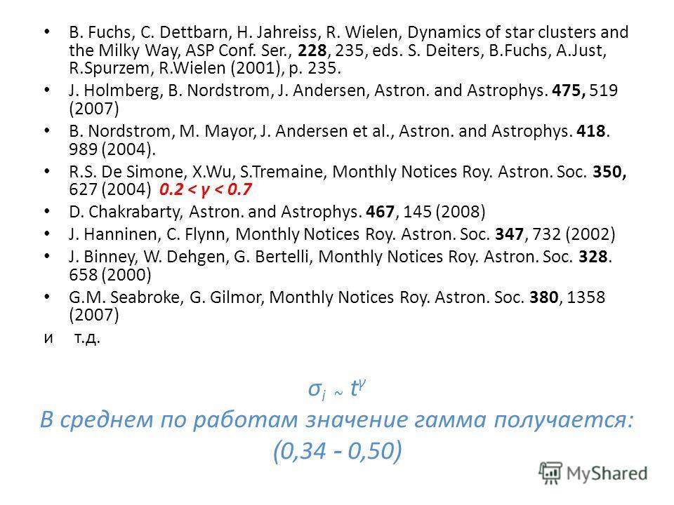 σ i ~ t γ В среднем по работам значение гамма получается: ( 0,34 - 0,50 ) B. Fuchs, C. Dettbarn, H. Jahreiss, R. Wielen, Dynamics of star clusters and the Milky Way, ASP Conf. Ser., 228, 235, eds. S. Deiters, B.Fuchs, A.Just, R.Spurzem, R.Wielen (200