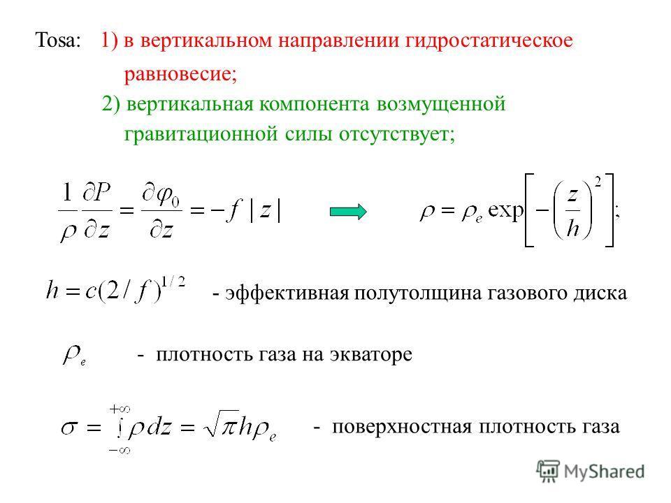 - плотность газа на экваторе - эффективная полутолщина газового диска - поверхностная плотность газа Tosa: 1) в вертикальном направлении гидростатическое равновесие; 2) вертикальная компонента возмущенной гравитационной силы отсутствует;
