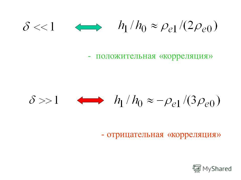 - положительная «корреляция» - отрицательная «корреляция»