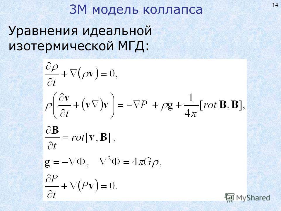 14 3М модель коллапса Уравнения идеальной изотермической МГД: