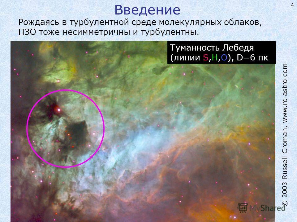 4 Рождаясь в турбулентной среде молекулярных облаков, ПЗО тоже несимметричны и турбулентны. Туманность Лебедя (линии S,H,O), D=6 пк © 2003 Russell Croman, www.rc-astro.com Введение