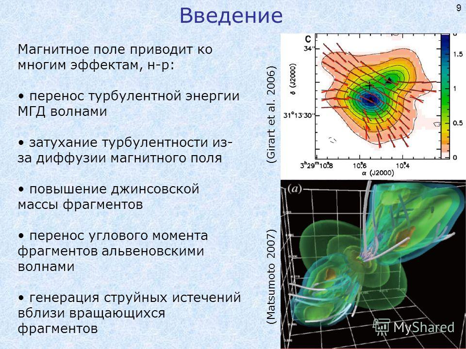 9 Магнитное поле приводит ко многим эффектам, н-р: перенос турбулентной энергии МГД волнами затухание турбулентности из- за диффузии магнитного поля повышение джинсовской массы фрагментов перенос углового момента фрагментов альвеновскими волнами гене