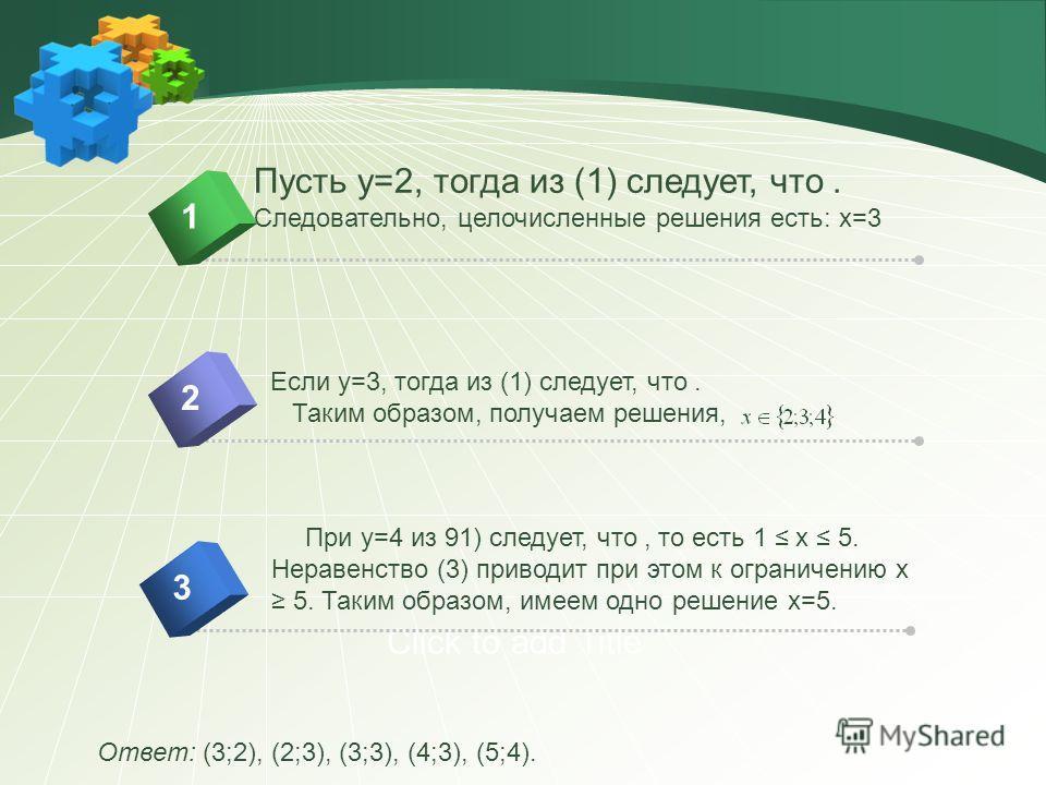 Click to add Title Ответ: (3;2), (2;3), (3;3), (4;3), (5;4). При y=4 из 91) следует, что, то есть 1 x 5. Неравенство (3) приводит при этом к ограничению x 5. Таким образом, имеем одно решение x=5. Пусть y=2, тогда из (1) следует, что. Следовательно,