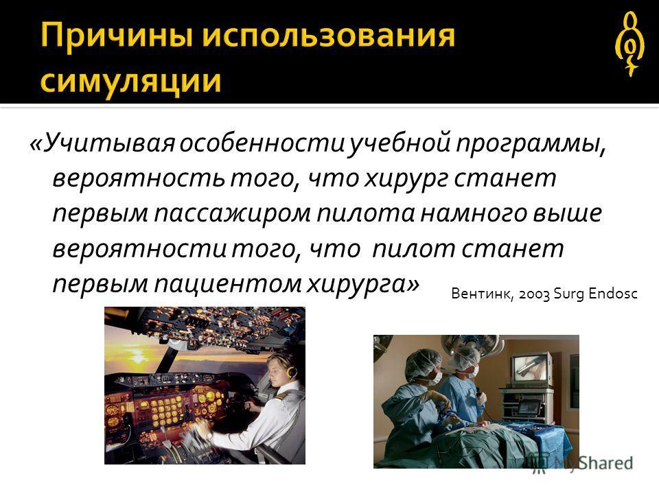 «Учитывая особенности учебной программы, вероятность того, что хирург станет первым пассажиром пилота намного выше вероятности того, что пилот станет первым пациентом хирурга» Вентинк, 2003 Surg Endosc