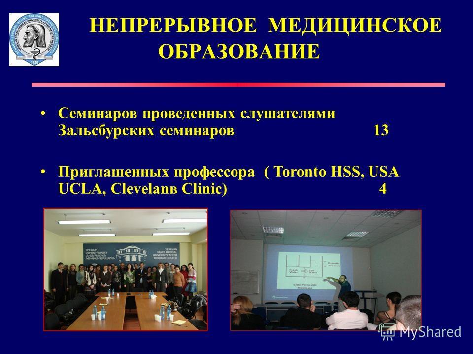 НЕПРЕРЫВНОЕ МЕДИЦИНСКОЕ ОБРАЗОВАНИЕ Семинаров проведенных слушателями Зальсбурских семинаров 13 Приглашенных профессора ( Toronto HSS, USA UCLA, Clevelanв Clinic) 4