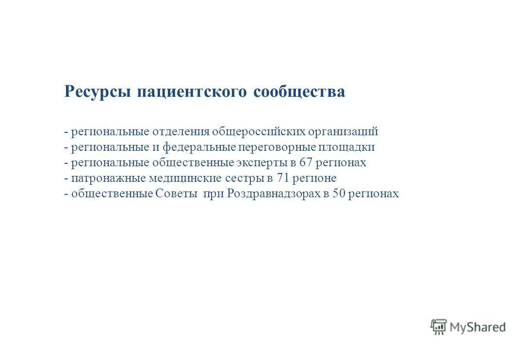 Ресурсы пациентского сообщества - региональные отделения общероссийских организаций - региональные и федеральные переговорные площадки - региональные общественные эксперты в 67 регионах - патронажные медицинские сестры в 71 регионе - общественные Сов
