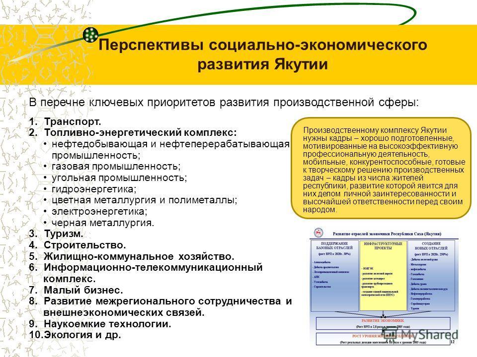 Перспективы социально-экономического развития Якутии 1. Транспорт. 2. Топливно-энергетический комплекс: нефтедобывающая и нефтеперерабатывающая промышленность; газовая промышленность; угольная промышленность; гидроэнергетика; цветная металлургия и по