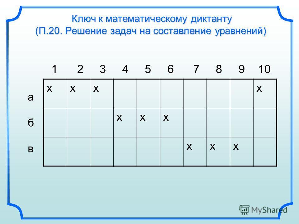Ключ к математическому диктанту (П.20. Решение задач на составление уравнений) 1 2 3 4 5 6 7 8 9 10 абвабв хххх ххх ххх