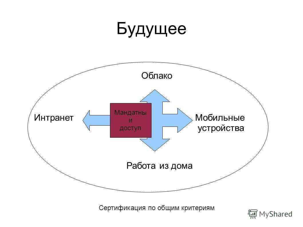 Будущее Облако Мобильные устройства Интранет Работа из дома Мандатны й доступ Сертификация по общим критериям