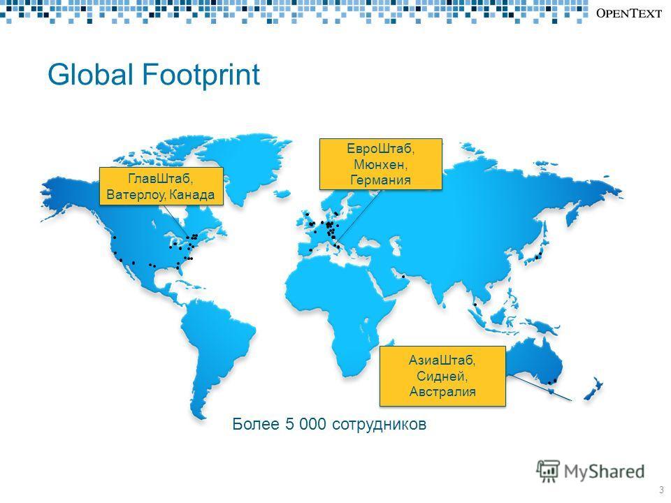 Global Footprint ГлавШтаб, Ватерлоу, Канада 3 Более 5 000 сотрудников ЕвроШтаб, Мюнхен, Германия АзиаШтаб, Сидней, Австралия