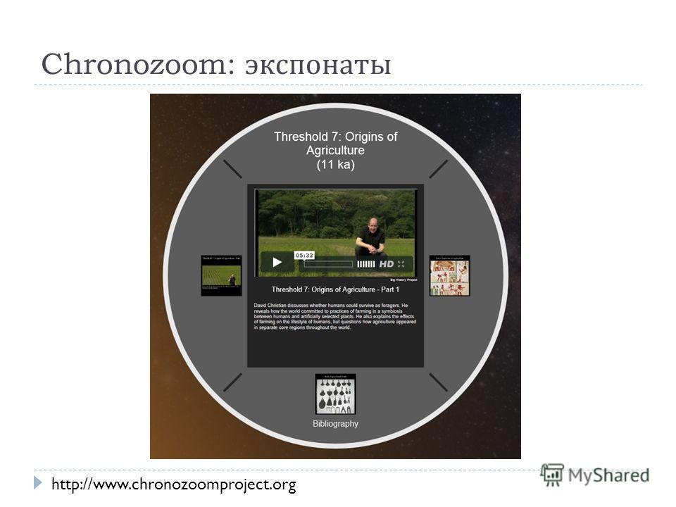 Chronozoom: экспонаты http://www.chronozoomproject.org