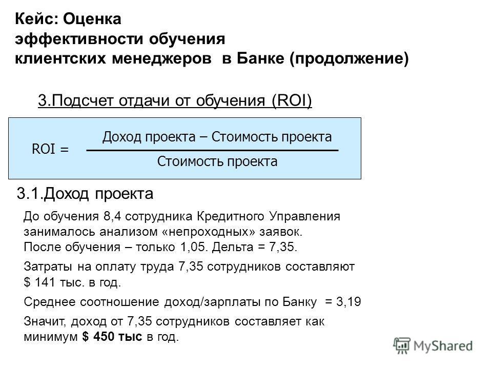 3.Подсчет отдачи от обучения (ROI) ROI = Доход проекта – Стоимость проекта Стоимость проекта 3.1.Доход проекта До обучения 8,4 сотрудника Кредитного Управления занималось анализом «непроходных» заявок. После обучения – только 1,05. Дельта = 7,35. Зат