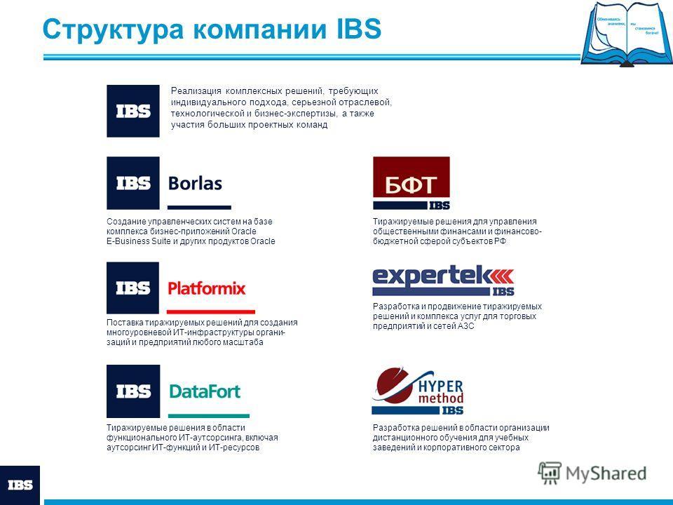Структура компании IBS Создание управленческих систем на базе комплекса бизнес-приложений Oracle E-Business Suite и других продуктов Oracle Поставка тиражируемых решений для создания многоуровневой ИТ-инфраструктуры органи- заций и предприятий любого