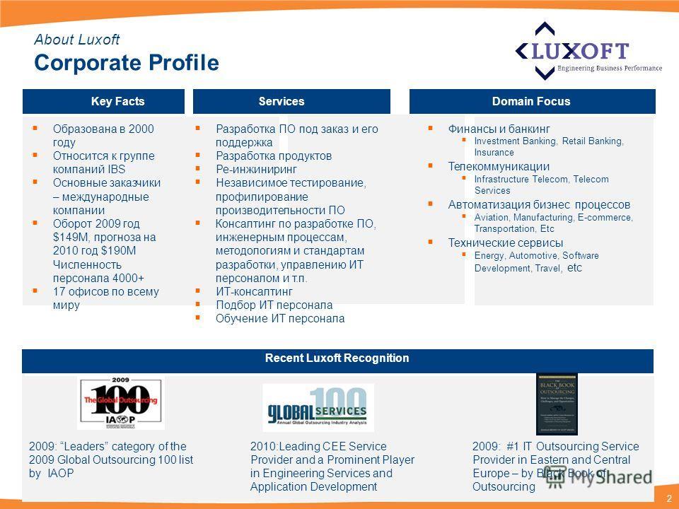 2 About Luxoft Corporate Profile Key FactsServicesDomain Focus Образована в 2000 году Относится к группе компаний IBS Основные заказчики – международные компании Оборот 2009 год $149M, прогноза на 2010 год $190M Численность персонала 4000+ 17 офисов