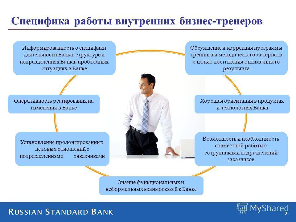 3 Специфика работы внутренних бизнес-тренеров Информированность о специфики деятельности Банка, структуре и подразделениях Банка, проблемных ситуациях в Банке Оперативность реагирования на изменения в Банке Хорошая ориентация в продуктах и технология
