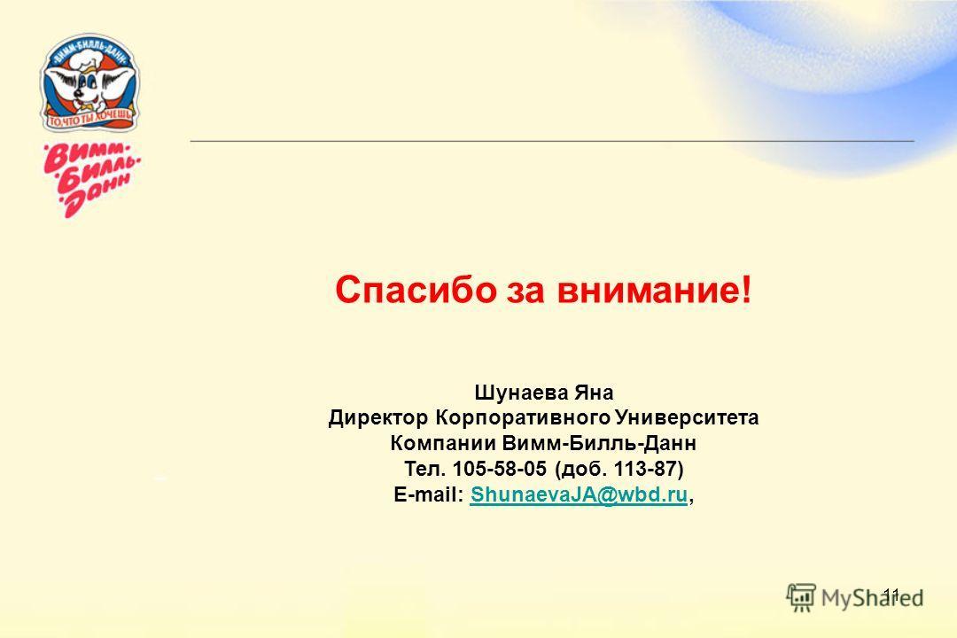 11 Спасибо за внимание! Шунаева Яна Директор Корпоративного Университета Компании Вимм-Билль-Данн Тел. 105-58-05 (доб. 113-87) E-mail: ShunaevaJA@wbd.ru,ShunaevaJA@wbd.ru