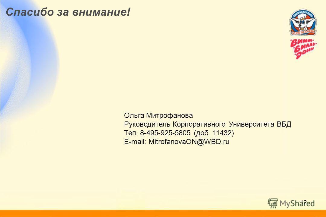 12 Спасибо за внимание! Ольга Митрофанова Руководитель Корпоративного Университета ВБД Тел. 8-495-925-5805 (доб. 11432) E-mail: MitrofanovaON@WBD.ru