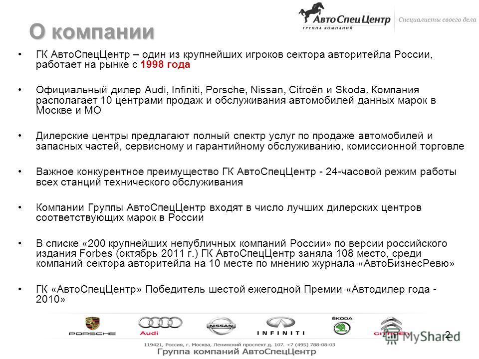 2 О компании ГК АвтоСпецЦентр – один из крупнейших игроков сектора авторитейла России, работает на рынке с 1998 года Официальный дилер Audi, Infiniti, Porsche, Nissan, Citroёn и Skoda. Компания располагает 10 центрами продаж и обслуживания автомобиле