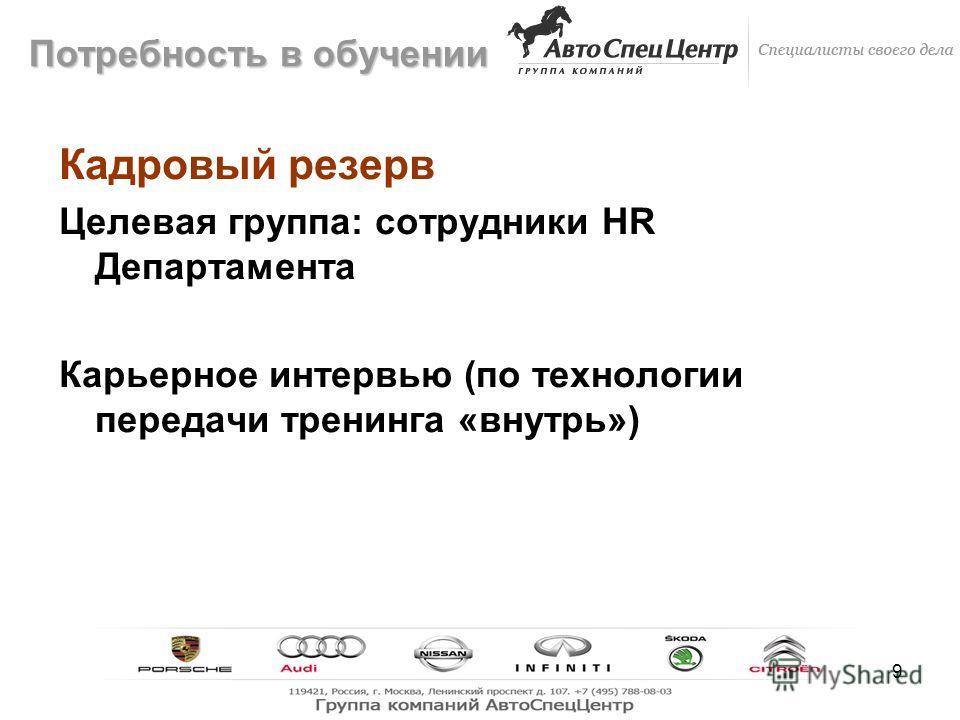 9 Кадровый резерв Целевая группа: сотрудники HR Департамента Карьерное интервью (по технологии передачи тренинга «внутрь») Потребность в обучении
