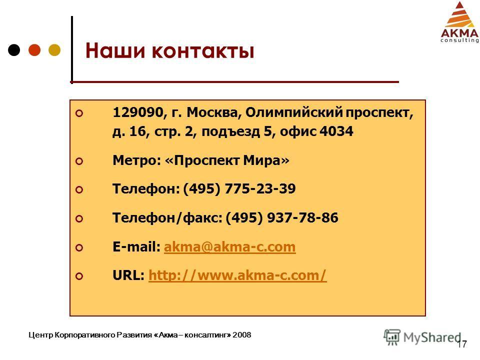 Центр Корпоративного Развития «Акма – консалтинг» 2008 17 Наши контакты 129090, г. Москва, Олимпийский проспект, д. 16, стр. 2, подъезд 5, офис 4034 Метро: «Проспект Мира» Телефон: (495) 775-23-39 Телефон/факс: (495) 937-78-86 E-mail: akma@akma-c.com