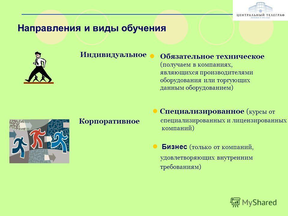 Направления и виды обучения Обязательное техническое (получаем в компаниях, являющихся производителями оборудования или торгующих данным оборудованием) Индивидуальное Корпоративное Специализированное ( курсы от специализированных и лицензированных ко