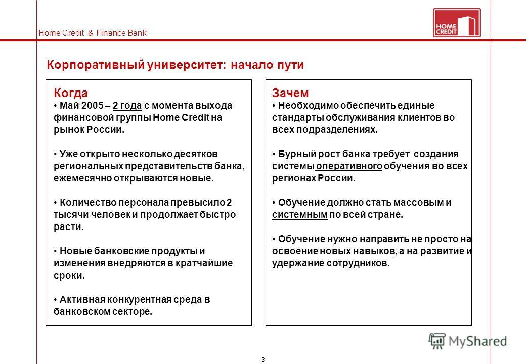 3 Lines Home Credit & Finance Bank Корпоративный университет: начало пути Когда Май 2005 – 2 года с момента выхода финансовой группы Home Credit на рынок России. Уже открыто несколько десятков региональных представительств банка, ежемесячно открывают