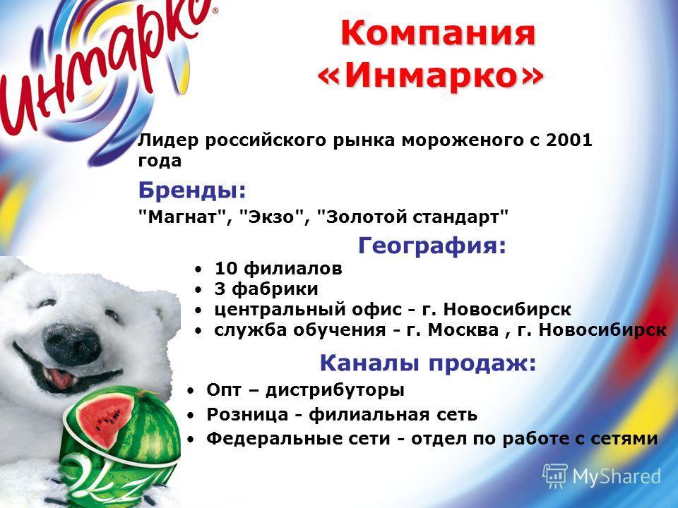 География: 10 филиалов 3 фабрики центральный офис - г. Новосибирск служба обучения - г. Москва, г. Новосибирск Компания «Инмарко» Компания «Инмарко» Лидер российского рынка мороженого с 2001 года Бренды: