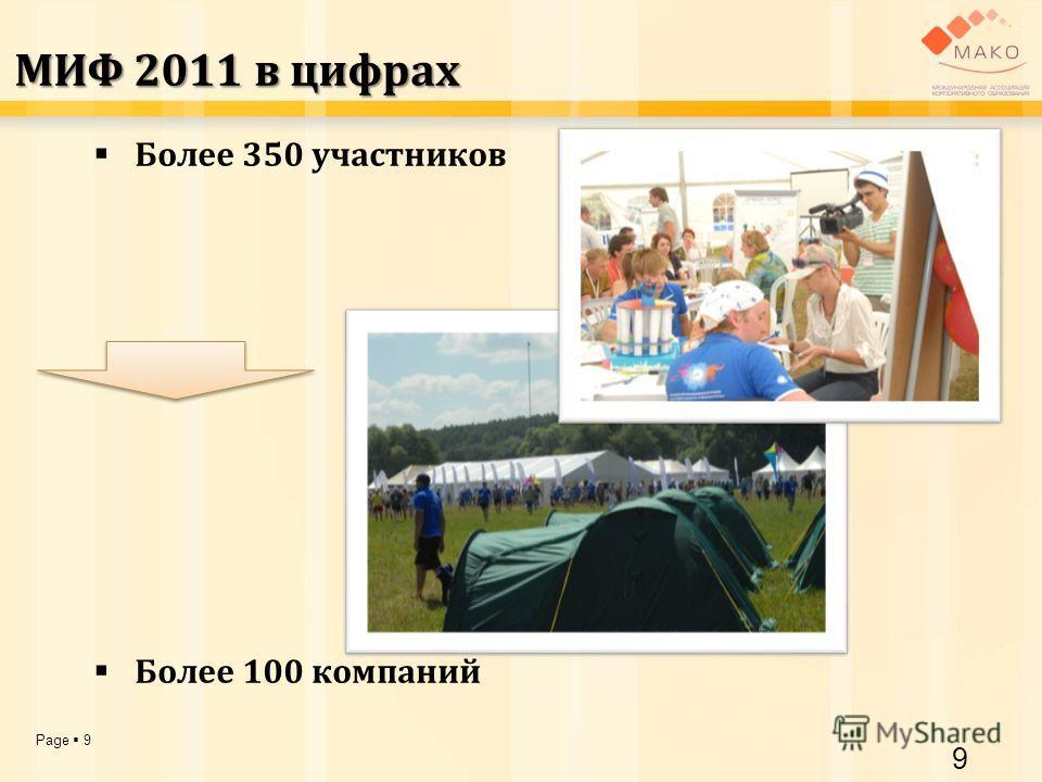 Page 9 МИФ 2011 в цифрах Более 350 участников Более 100 компаний 9