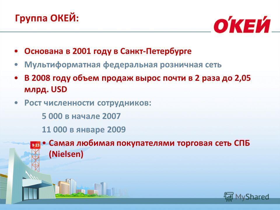 Группа ОКЕЙ: Основана в 2001 году в Санкт-Петербурге Мультиформатная федеральная розничная сеть В 2008 году объем продаж вырос почти в 2 раза до 2,05 млрд. USD Рост численности сотрудников: 5 000 в начале 2007 11 000 в январе 2009 Самая любимая покуп