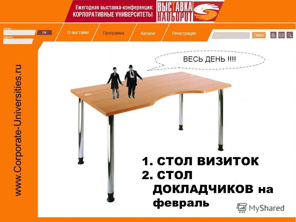 www.Corporate-Universities.ru 1. СТОЛ ВИЗИТОК 2. СТОЛ ДОКЛАДЧИКОВ на февраль ВЕСЬ ДЕНЬ !!!!