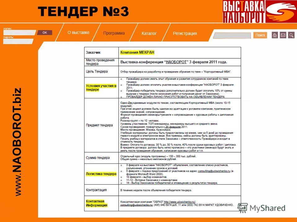www. NAOBOROT.biz ТЕНДЕР 3