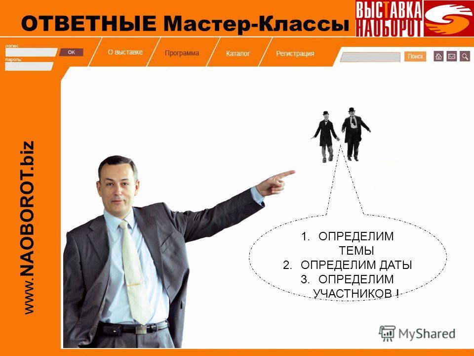 www. NAOBOROT.biz 1.ОПРЕДЕЛИМ ТЕМЫ 2.ОПРЕДЕЛИМ ДАТЫ 3.ОПРЕДЕЛИМ УЧАСТНИКОВ ! ОТВЕТНЫЕ Мастер-Классы