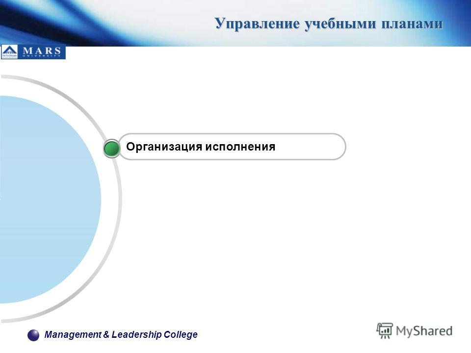 Management & Leadership College Управление учебными планами Организация исполнения