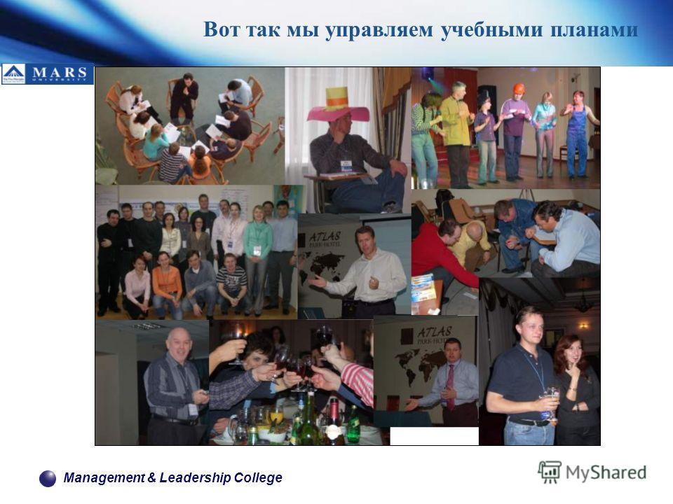 Management & Leadership College Вот так мы управляем учебными планами